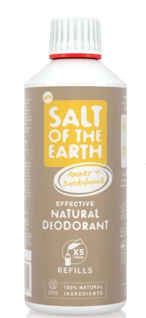 Prírodný kryštálový deodorant PURE AURA - jantár, santalové drevo, náplň 500ml