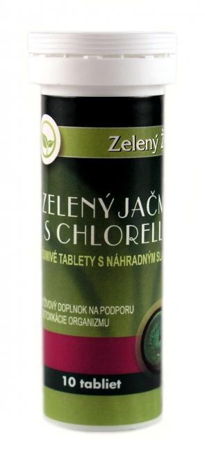 Zelený jačmeň s chlorellou - šumivé tablety, 10 tabliet